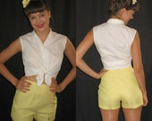 Vintage 1960s Lemon Yellow Short Shorts NOS Original Tags Size Small - sewingmachinegirl