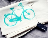 Flour Sack Tea Towel With Retro Teal Bike Print -  Eco-Friendly -  Housewares - naturwrk