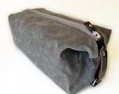 Men's Toiletry Bag, Waxed Cotton Canvas and Leather Dopp Kit, Handmade - SivaniAccessories