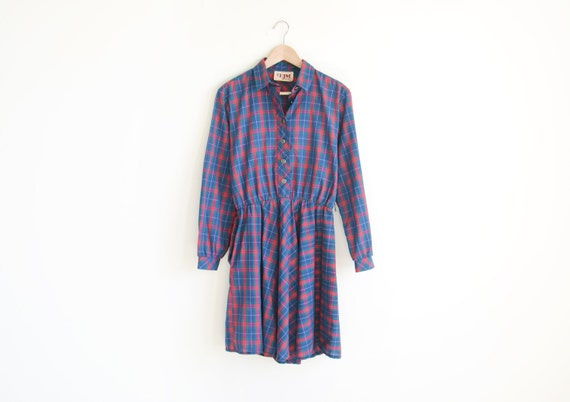 Vintage EJM blue and red plaid shirts dress.