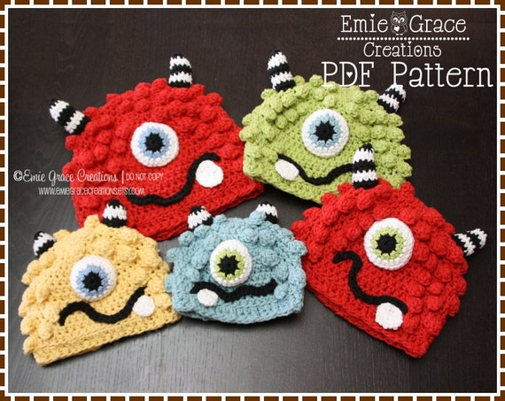 Monster Hat Crochet Pattern - BRONSTER & MISSY - 104