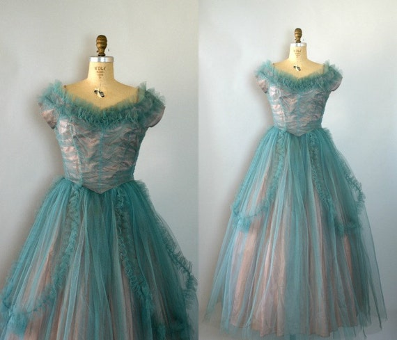 Vintage 1950s Formal Gown - 50s Two Tone Turquoise Tulle Dress - Enchantment Under the Sea