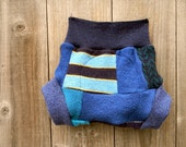 Upcycled Wool Soaker Cover Diaper Cover With Added Doubler Blue Patchwork  MEDIUM 6-12M Kidsgogreen