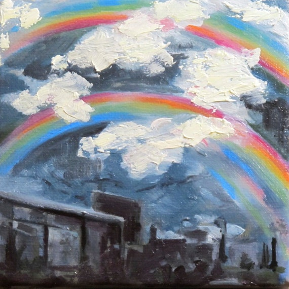 "4""x4"" Oil Painting -  Rainbow, Cool Blue Cloudy Day, Texture"