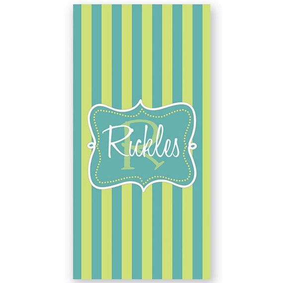 Personalized Bath or Beach Towel - Monogrammed Cabana Stripe Bath or Beach Towel