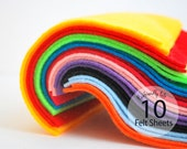 10 Felt Sheets Ecofriendly Felt - 6 x 6 sheets - PICK two colors A602