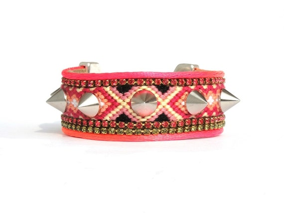 Neon tangerine friendship bracelet spikes cuff - OOAKjewelz original SS2013 collection - neon bracelet - hippie jewelry - coral bracelet