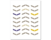 Chevron - Wall Art Print - Simple Modern Arrows - Home Decor - Neutral Plum Tan Mustard Yellow- Tribal -Under 20 - AldariArt