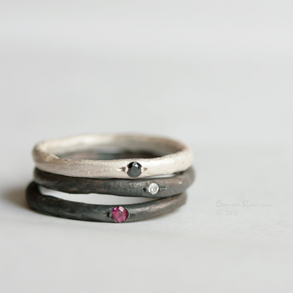 stacking rings sterling silver gem lachicadelosanillos