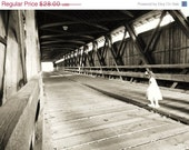 ON SALE CREEPY Original Fine Art Photograph Little Girl in Haunted Covered Bridge Black and White 8x12 - VivaEstelle
