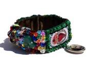 Sacred Heart woven emboridered bracelet