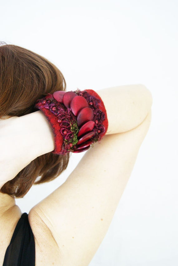 Felted Red Passion Bracelet