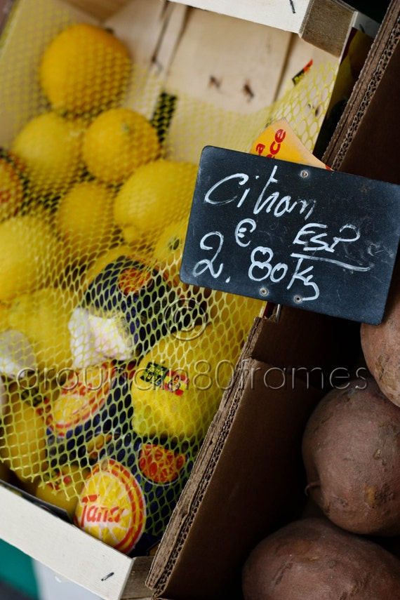 Paris Market Finds- Citron, 8x10 Print, Travel Photography- Paris, France