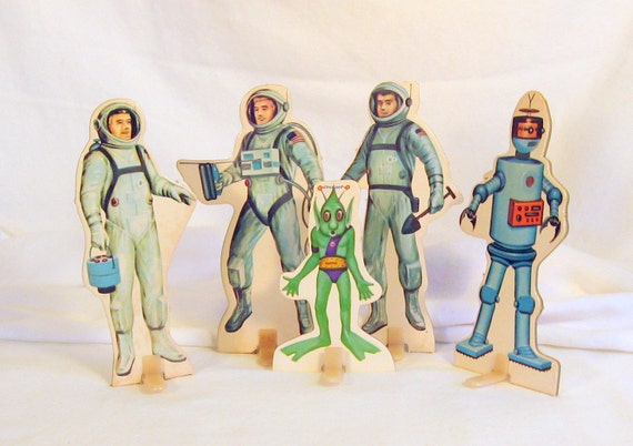 Vintage Toy Moon Astronauts Rockets Alien Characters Standees Rare Mid Century Playset Cardboard Activity Set Fun Lot