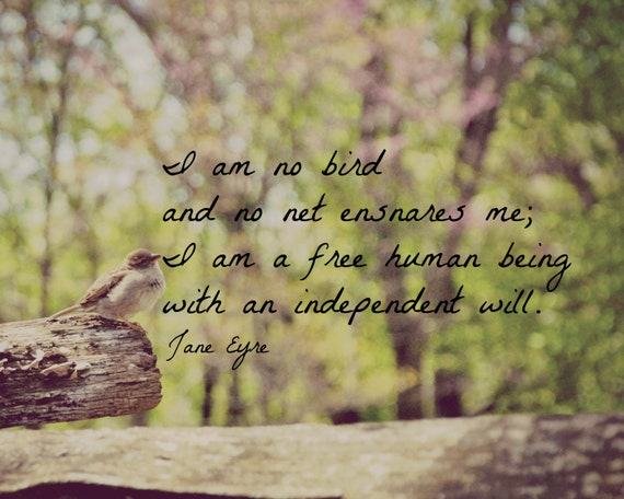 Jane Eyre Quote I Am No Bird Art Print Charlotte Bronte Nature Bird Photography Quote Book Wall Art Home Decor Gift