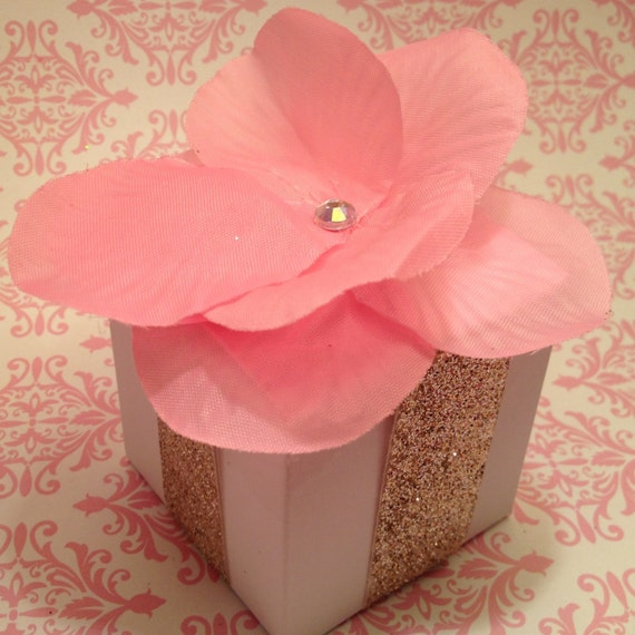 Set of 10 Favor boxes bridal shower pink flower with gold ribbon white silver