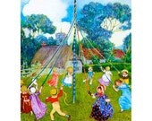 "May Day in the Country  hand cut wood wooden jigsaw puzzle  9.5"" x 12.5"" 175-225 pieces - PersimmonPuzzles"