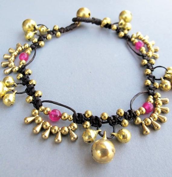 Bohemian Little Brass Water drop Pink Quartz Chic Bracelet