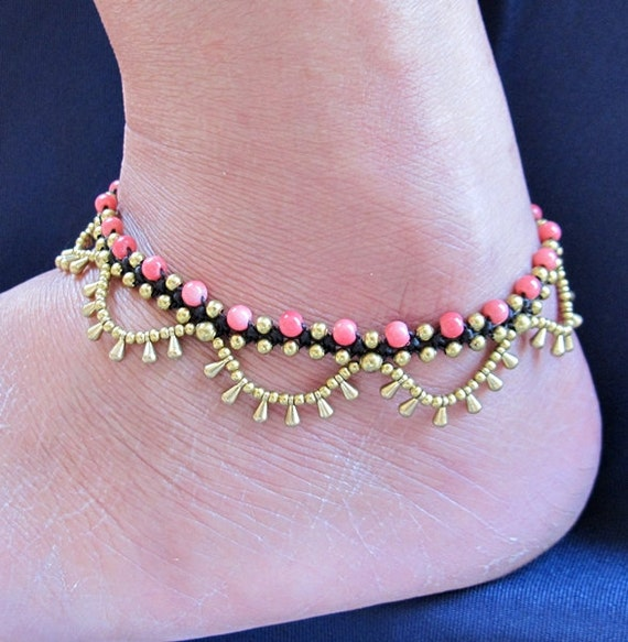 Boho Brass Bead Water drop Cascade Anklet with Soft Coral Bead