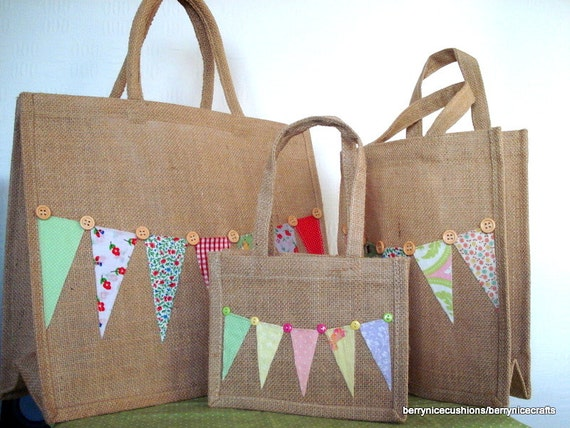 Large Hessian Shopper Tote Bag with Bunting and Button Trim Funky Shopping Bag Mothers Day