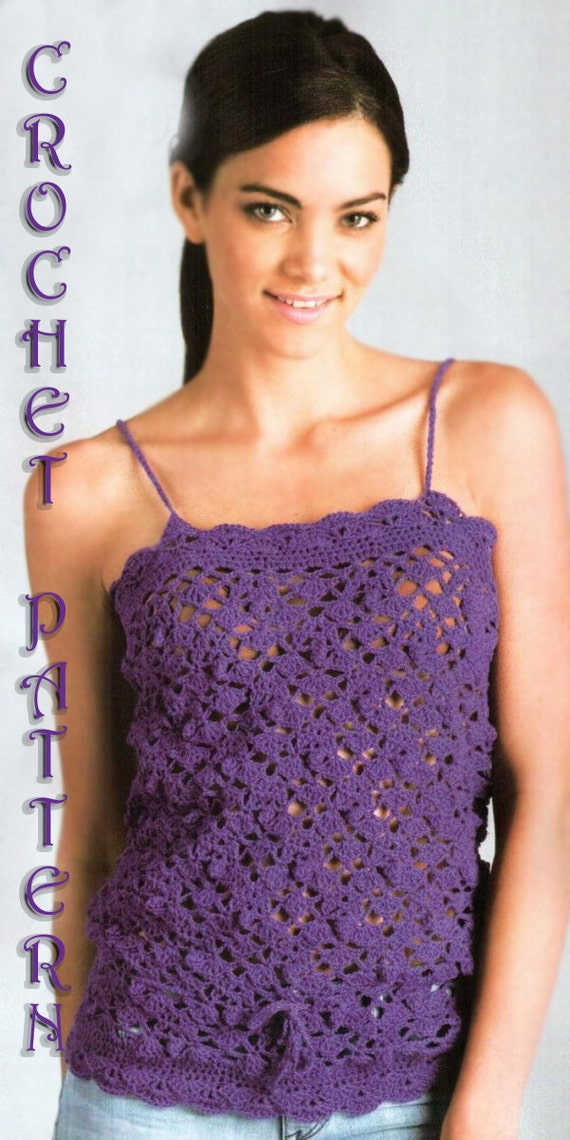 Woman Crochet Pattern in pdf, top, Cover up,spaghetti straps top.
