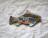 Fish Brooch, Pin Back Button, Pin: eco friendly,  upcycled