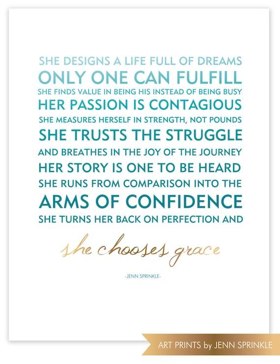 11x14 Poster - She Chooses Grace Aqua & Gold Foil