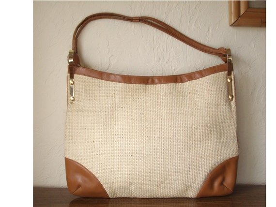 Vintage Susan Gail Large Straw Tan Leather Shopper Tote Handbag