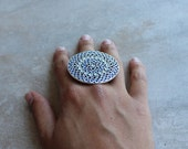 Silver Huichol Ring with blue, violet, gray and black enamel