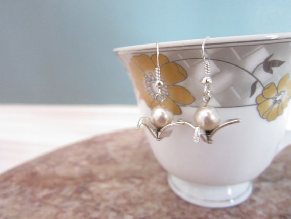 Origami Crane and Pearl Silver Plated Earrings