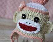 Crocheted Sock Monkey Baby Hat 0 to 12 month Gift or Prop