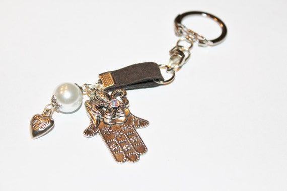 Hamsa evil eye love charm collection, keychain, leather keychain, charm keychain, evil eye, hamsa