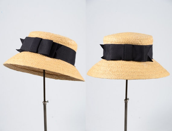 1940s hat/ 40s straw hat/ sun hat