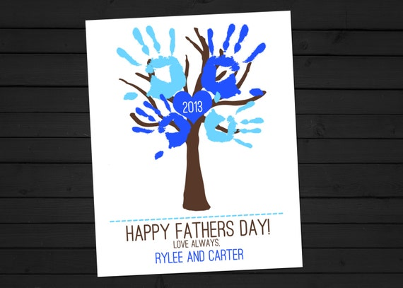 DIY Children's Handprint Tree Custom Father's Day Gift Printable