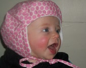 Baby Girls Winter Hat Berret Pink Polka Dot