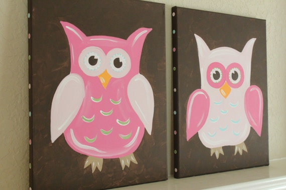 Owls, 11x14(set of 2), READY TO SHIP