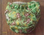 Quick Dry Bamboo All In One Diaper Monkey Print