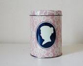 Victorian Tin Can With Silhouette Pink Lace - SeeDollyRun