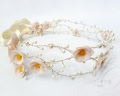 Bridal Flower Crown , Swarovski Crystal and Handmade Flowers - Soft Pink & White - LysaCreation