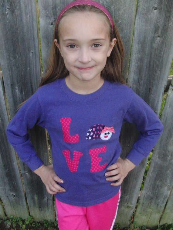 Girl Love Bug T-Shirt - Long Sleeve - Sizes 12m thru 12 - Pink and Purple