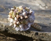 Yellow Ribbon Seashell Bouquet / Beach Bouquet - SlyCreationsBouquets