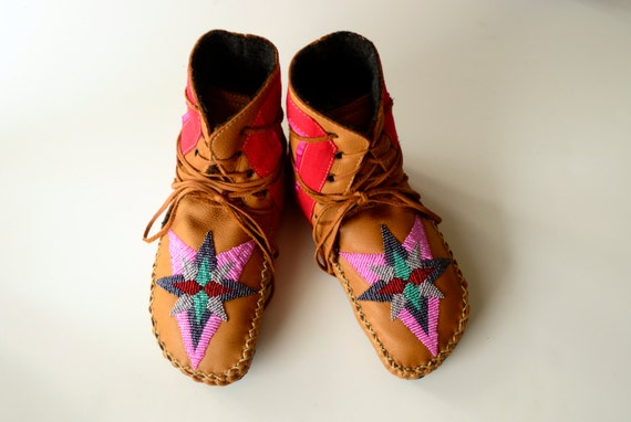 Women's handmade leather beaded wool-lined moccasin winter boots with wool felt insole and crepe rubber sole