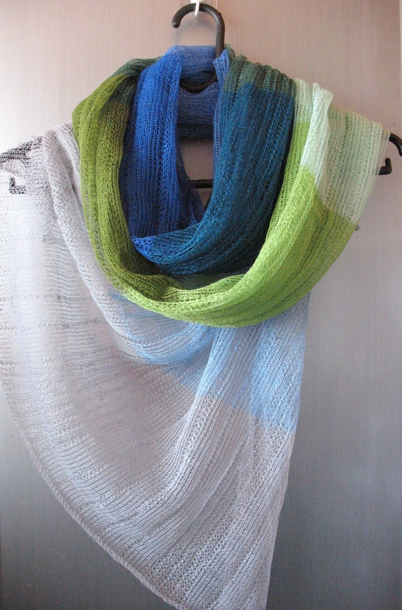 Linen Scarf Shawl Wrap Stole Blue Azure Green Salad Multicolored, Light, Transparent