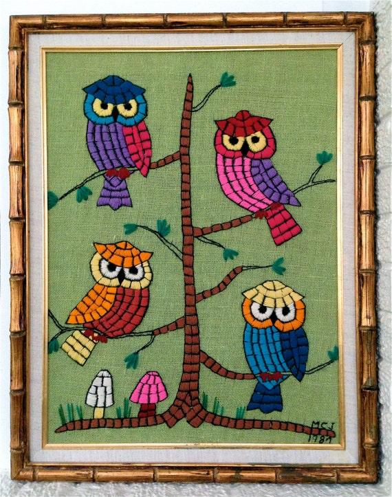 Vintage Kitsch Large 28 inch x 21 inch  Multi Colored Owls Needle Point Stitched Framed Wall Hanging