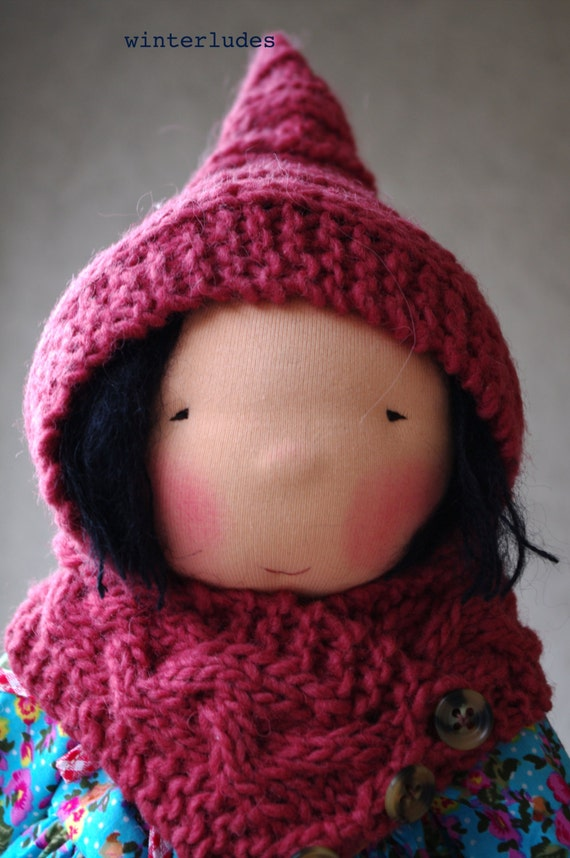 "pdf pattern: cable scarf ""petronille"" for 15-17"" waldorf doll"