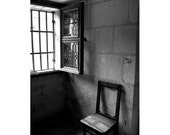 Chair Photograph Window Black And White Medieval France Travel Art - QuinnImagery
