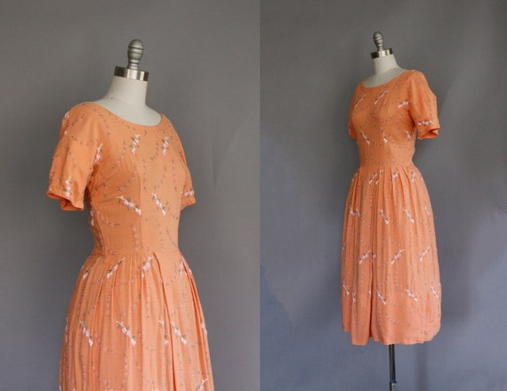 cherry blossom embroidered vintage dress in tangerine