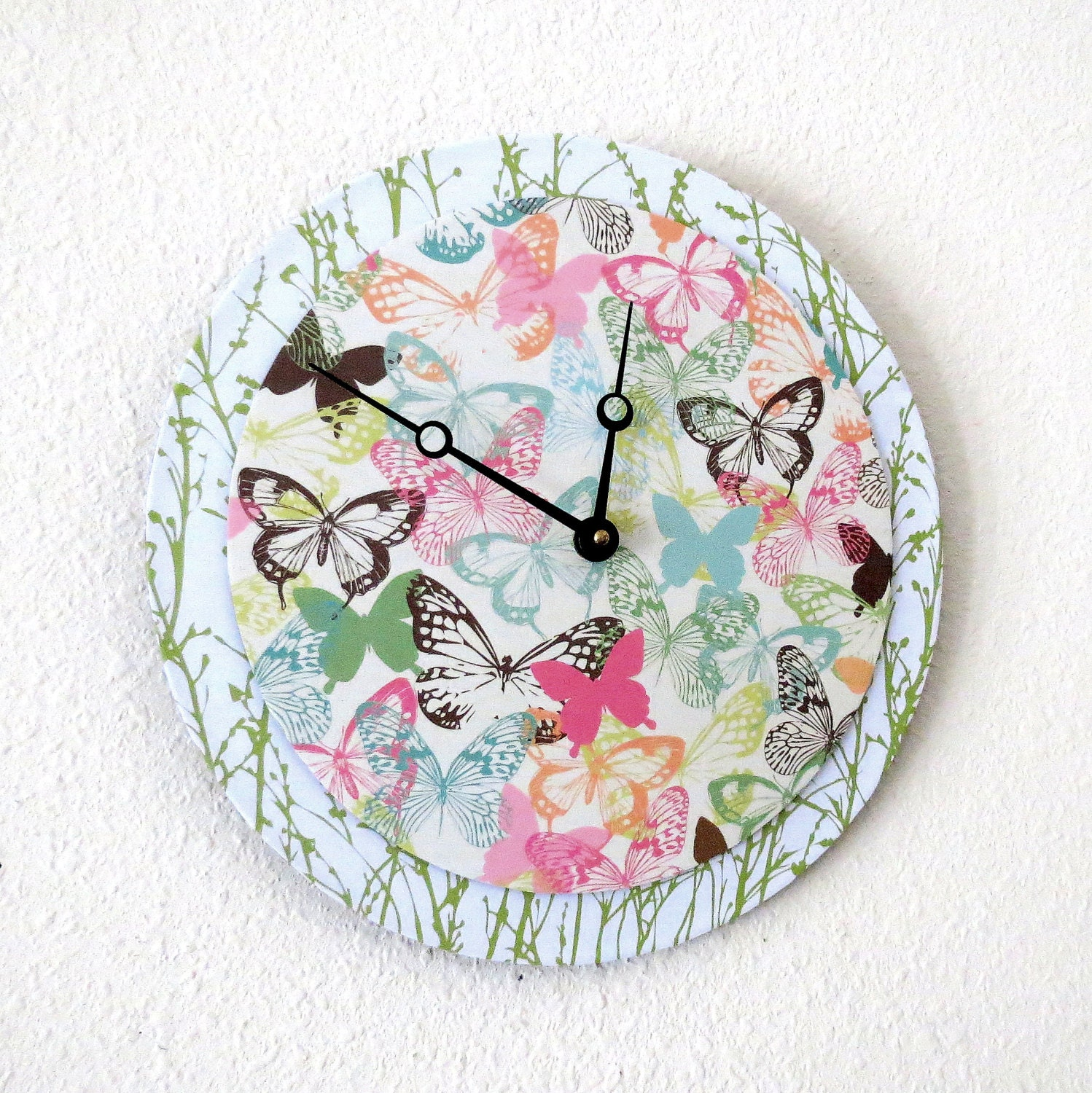 Unique Wall Clock Valentine Gift Butterfly Decor by Shannybeebo