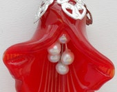 Mothers Day, OOAK, lampwork, flower, silver, red, handmade, pearl, gift, floral jewelry, jewelry set, Item S-193