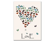 Customizable Butterflies in Love, Vintage Reproduction 8x12 inch (21x30cm), Valentines gift, Valentine, Colorful Gift on Parchment paper - DejaVuPrintStore